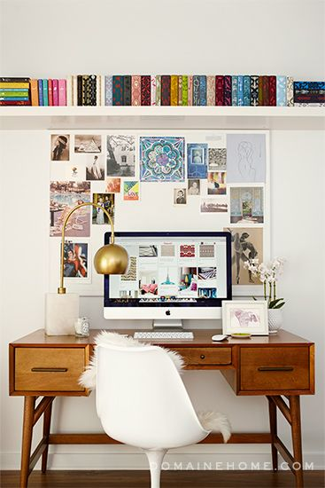 Before and After: E! Chief News Correspondent Melanie Bromley's Retro Home Gets a Dramatic Makeover // midcentury modern desk, white Tulip chair, inspiration board, hardcover books