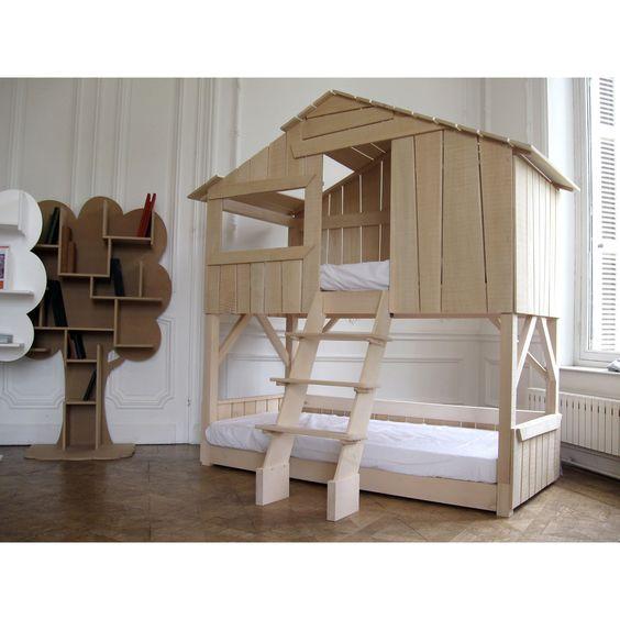 Lit cabane superposé enfant finition brute (90 x 190 cm) : Mathy by bols - Lit superposé - Berceau Magique