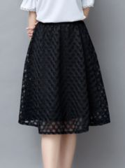 Hollow Out Plain Charming Midi-skirts