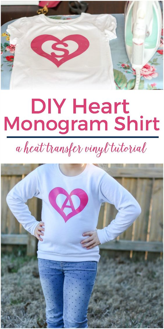Such a cute project for a monogrammed shirt and so easy! | DIY Heart Monogram Shirt with Heat Transfer Vinyl Tutorial
