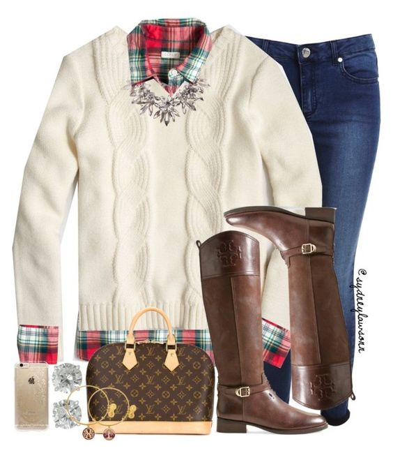 """""""flannels and cable knits for christmas...only 2 months away:) //sydney"""" by preppy-southern-gals ❤ liked on Polyvore featuring Miss Selfridge, J.Crew, Tory Burch, Louis Vuitton, Rifle Paper Co and Alex and Ani"""