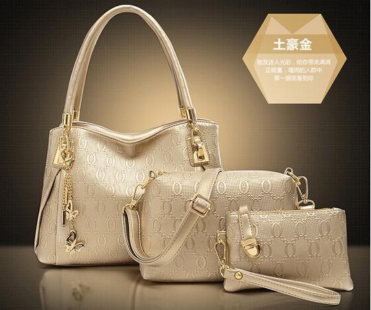 Novos 2015 mulheres bolsas genuinet couro bolsa mulheres Messenger bags marca designs saco sacos bolsa + Messenger Bag + bolsa 3 conjuntos