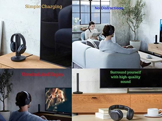Sony Wireless Headphones For Tv Watching Whrf400r With Transmitter Dock Tmrrf400 6 Ft 3 5mm Stereo Neego Rca Plug Y Adapter For Tv ในป 2020