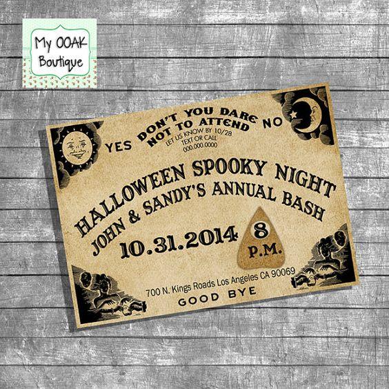 Ouija invitation spooky party invitation annual by myooakboutique