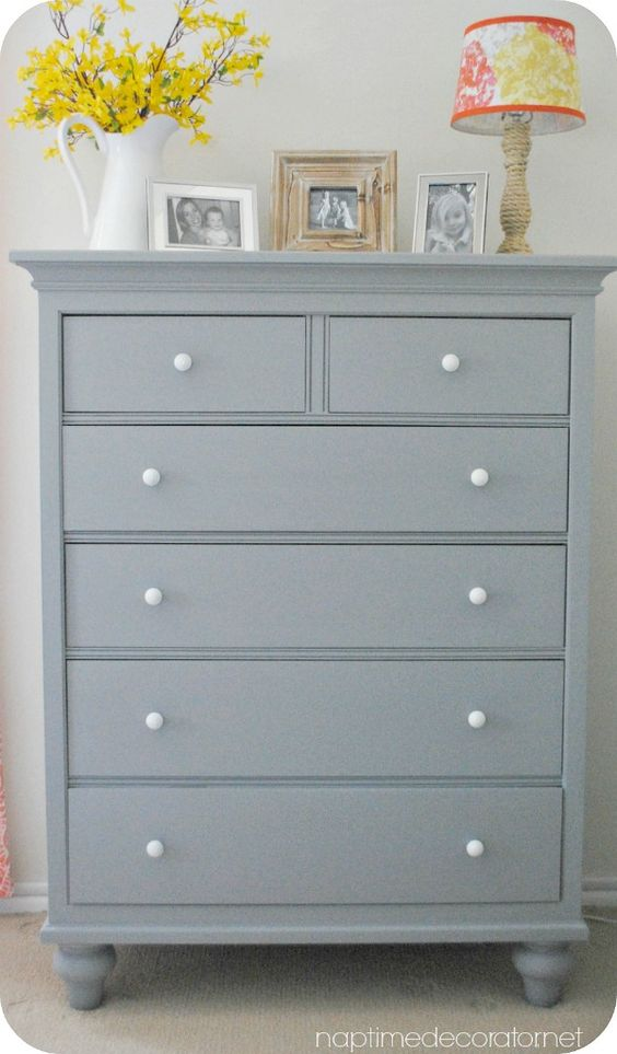 dresser chest highboy makeover - soft painted furniture in gray grey