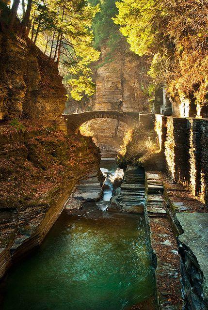 Upper Bridge at Robert Treman State Park, New York  (by Robert Stone on Flickr)