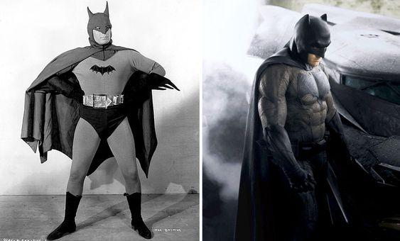Lewis Wilson's Batman (L) and Ben Affleck's Batman (R)