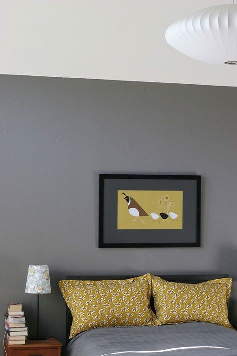 Grey mustard yellow bedroom love this unusual color combo home decor home decor Grey home decor pinterest
