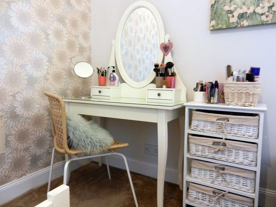 dressing table with make-up in baskets. Would love an area like this in my future home