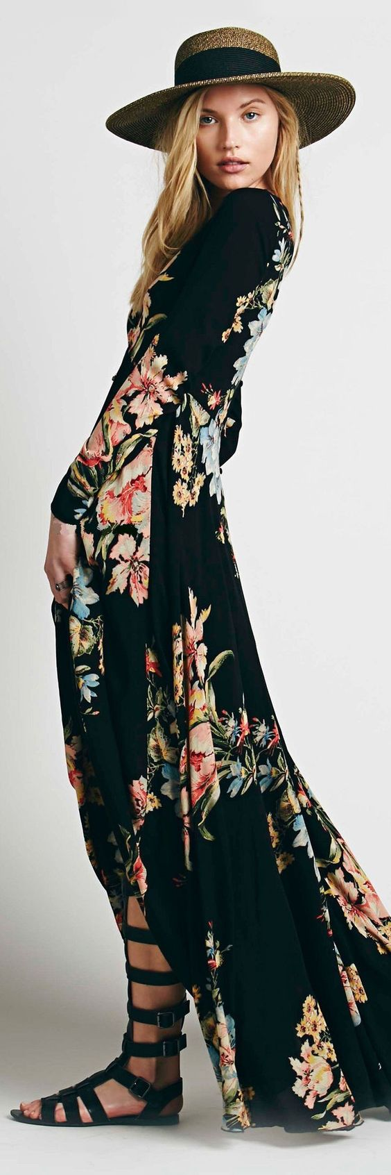 Floral maxi dress, straw hat w/black band, and black gladiator sandals.: