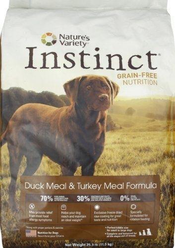 Natures Variety Dry Dog Food  Instinct Grain Free Duck and Turkey....GREAT FOOD. Waylons FAV!!