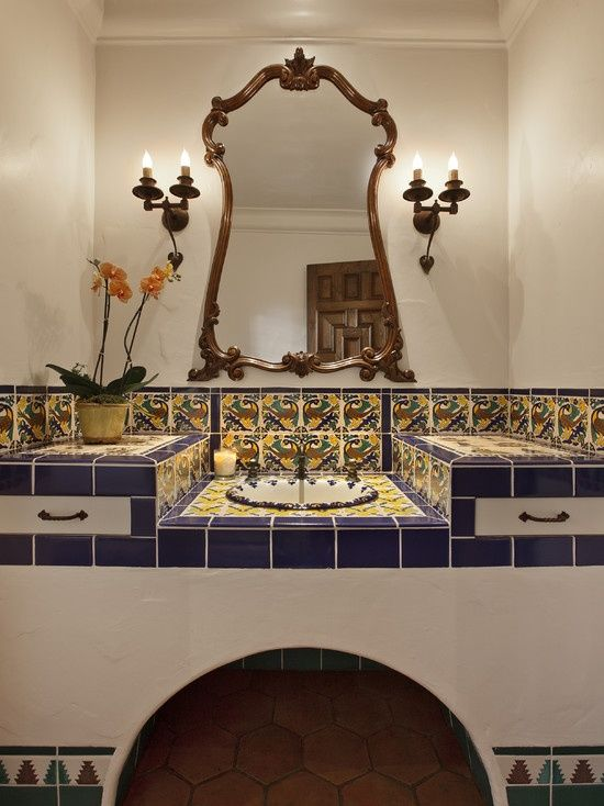 Spanish colonial downstairs bathroom home pinterest for Spanish colonial bathroom design