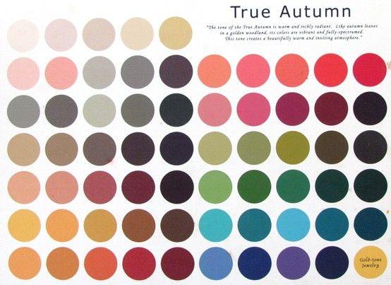 Warm Autumn skin tone colour palette: