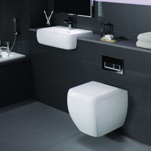 Floating Toilet And Sink In A Small Bathroom Floating Toilet Toilet Design Toilet Design Modern