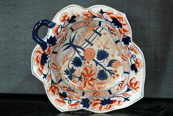 Antique Rare Shape Amherst Japan Ironstone Leaf Shape Imari Pattern Dish Bowl http://ebay.eu/1FY5ldD