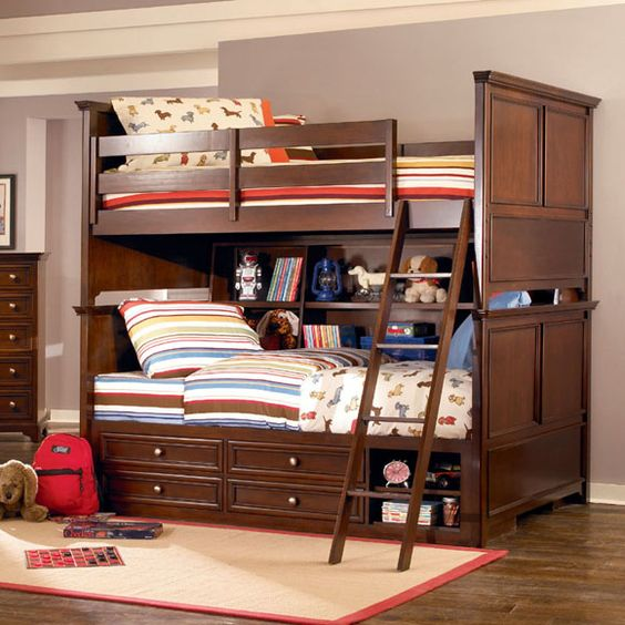 love the rich cherry finish on this bunk bed for a boys. Black Bedroom Furniture Sets. Home Design Ideas