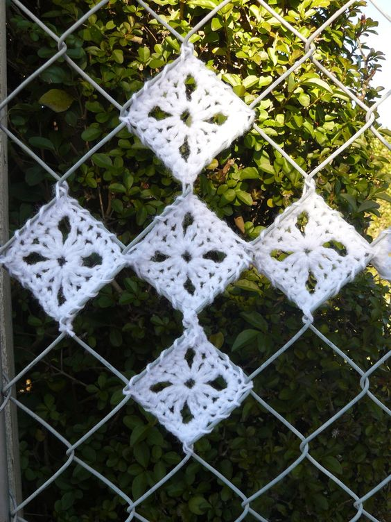 Crochet Patterns For Yarn Bombing : So cute! Imagine the shade pattern of a fence like this ...