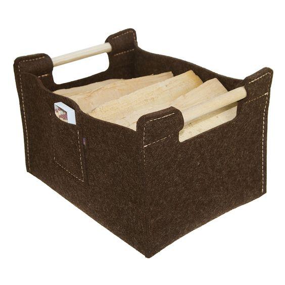 firewood holder, brown, filzkorb, holzkorb, feuerholzkorb #ebos #holzkorb #filzkorb