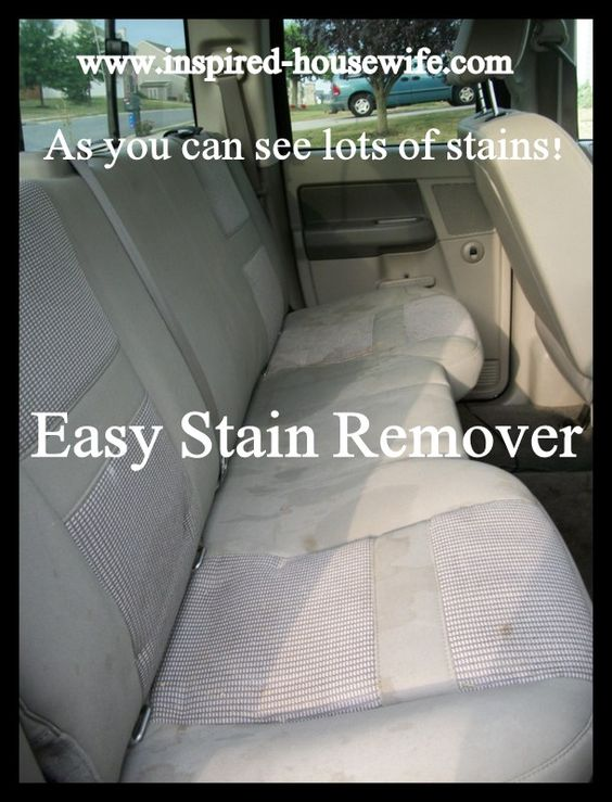 Easy Upholstery Stain Remover: 1 cup Dawn blue dish soap, 1 cup white vinegar, 1 cup club soda, a heavy duty spray bottle, a scrub brush. I sprayed liberally over the stained areas and let it sit for about 5-10 minutes.  Scrub in little circles over the stains. Use wet vac to remove moisture, repeat. Rinse with warm water and vacuum out again.