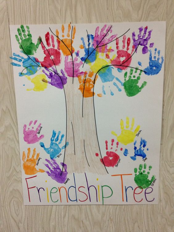 Preschool handprint friendship tree handprint footprint for Pinterest art ideas for adults