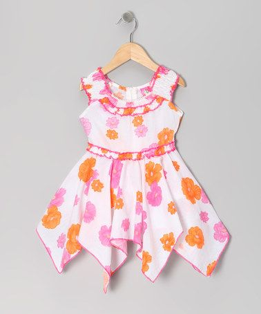 Another great find on #zulily! Pink Daisy Yoke Handkerchief Dress - Toddler & Girls #zulilyfinds