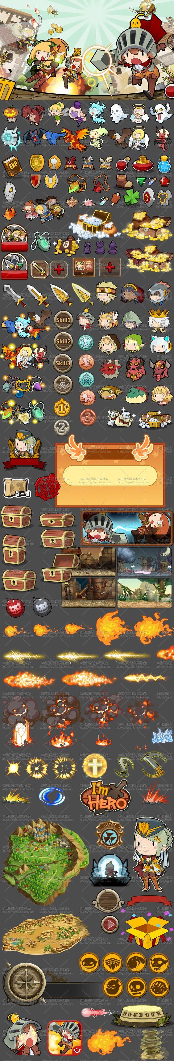 【游戏美术资源】韩国手游《1'm Hero》可爱Q版UI素材/界面/图标 特效