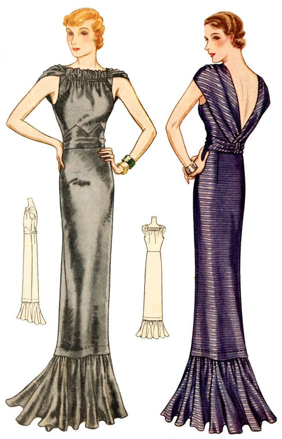 #T7595- 1930s Evening Gown with Gathered Neckline Sewing Pattern - Glamour