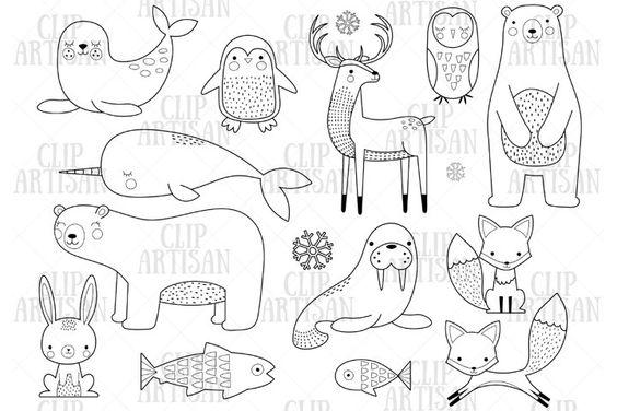 Arctic Animals Clipart Winter Animals Digital Stamp 444596 Illustrations Design Bundles In 2021 Animal Clipart Digital Stamps Arctic Animals
