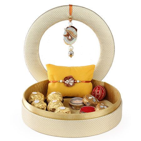 Rakhi gift hamper for brother, puja thali, Raksha Bandhan, Rakhi indian festival; indian bracelet; ships to India, hand-made rake set, lumba