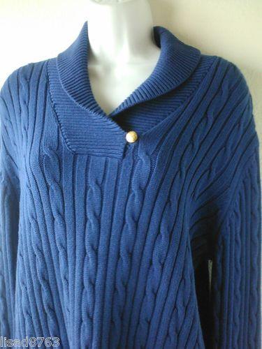 CHAPS RALPH LAUREN SZ XL Sweater 100% Cotton Shawl Collar Blue Sweater Cableknit