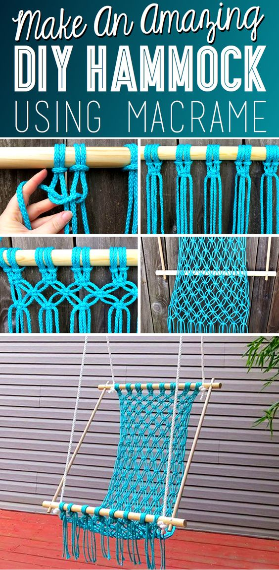 How to make a macrame hammock hangmatten macram en doe for Diy macrame baby swing