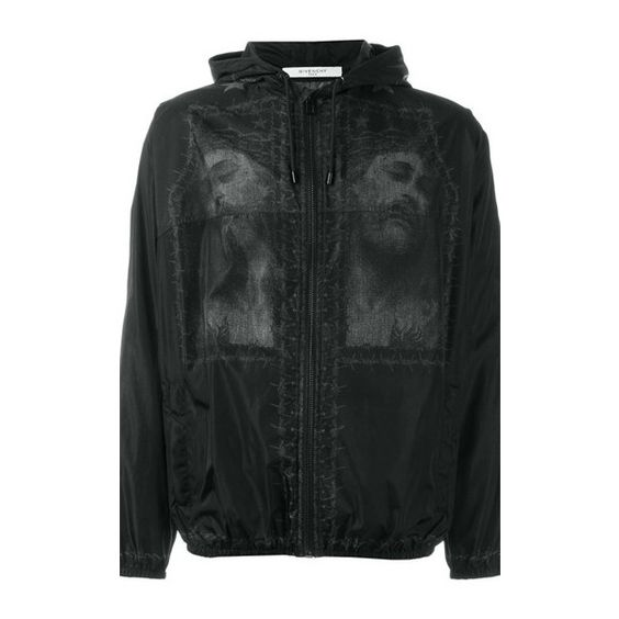 GIVENCHY Christ Print Windbreaker Jacket ($1,527) ❤ liked on Polyvore featuring men's fashion, men's clothing, men's outerwear, men's jackets, black, mens leopard print jacket, mens windbreaker jacket, mens fitted leather jacket and givenchy mens jacket