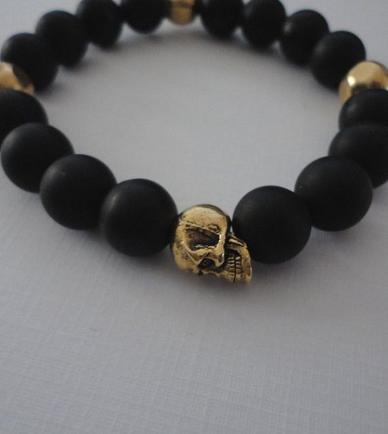 Pandora Mens Jewelry: Black Onyx Double Skull Bracelet For Men With By