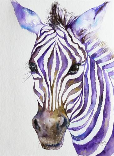 Snazzy Purple Stripes Zebra - watercolor by ©Arti Chauhan (via DailyPaintworks)