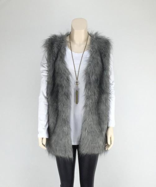 Faux Fur Vest in Gray