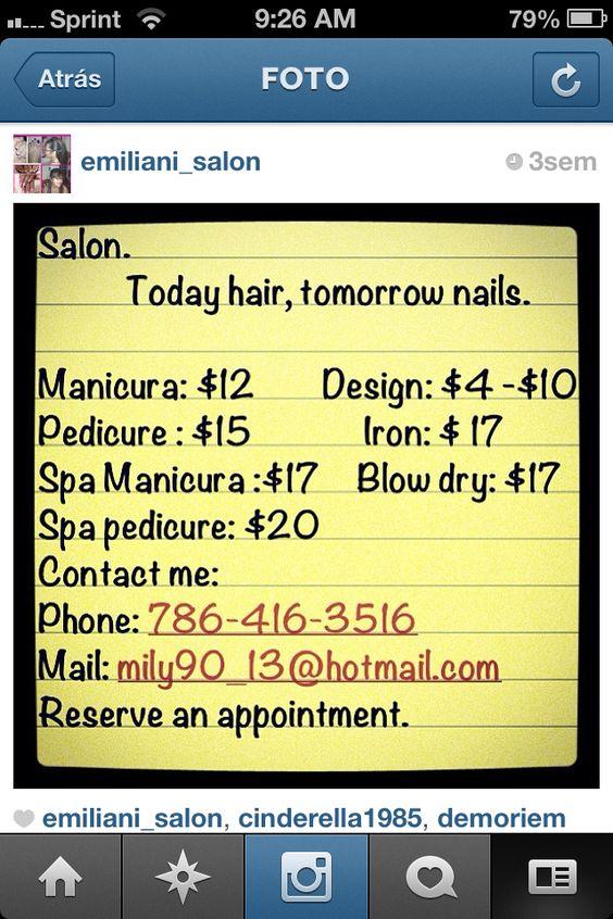 Sígueme en instargram; @emiliani_salon y en Facebook; Today Hair, Tomorrow Nails