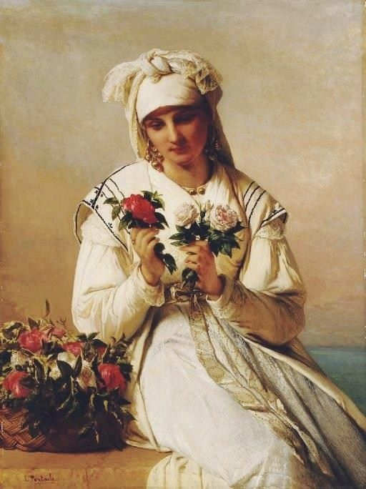"Jean François Portae (belgian painter) - ""Choosing the rose"""