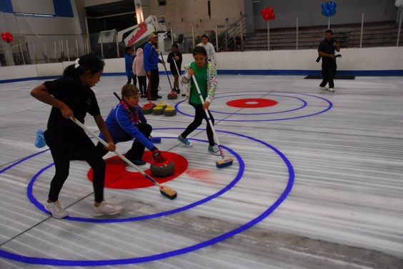 Teaching curling in the Ice Palace in Aiea, Hawaii