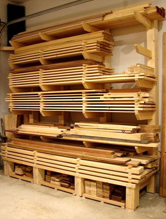 Good way to keep your wood orginized: Woodworking Shop Ideas, Woodshop, Workshop, Storage Idea