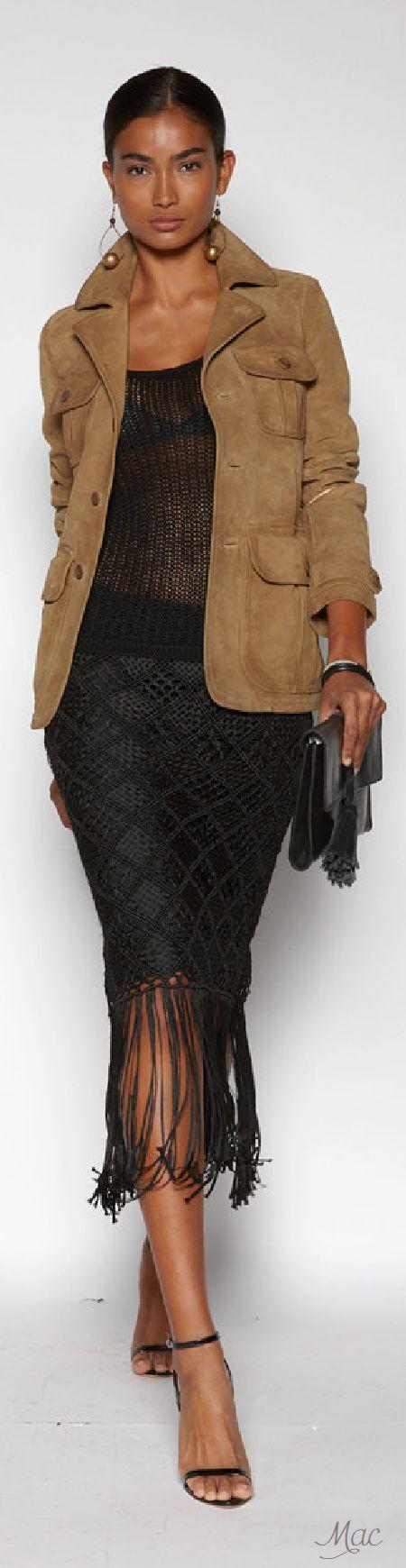 Polo Ralph Lauren S-16 RTW: sahariana jacket, knitted top, fringed skirt