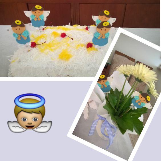 Decoração mesa batizado, Espetos em EVA