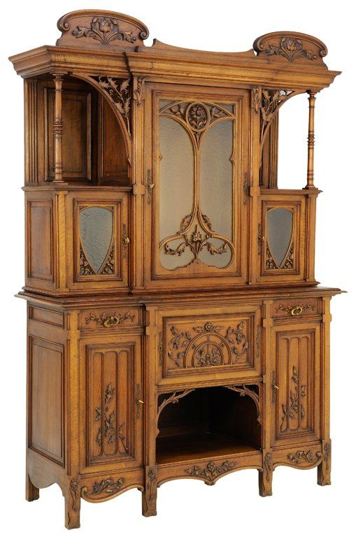 A late gothic victorian revival style sideboard in a for French furniture designers 20th century