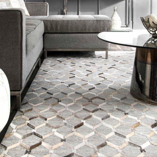 Jevon Geometric Handmade Tufted Gray Area Rug Living Room Area