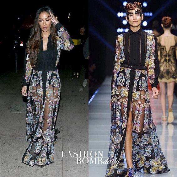 @nicolescherzy was spotted in LA wearing a @mariodiceofficial sheer maxi dress. Thoughts? #instastyle #instafashion #celebritystyle #nicolescherzinger #fashionbombdaily