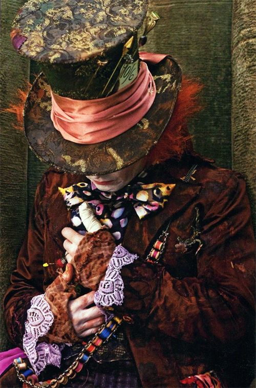 Detailed close up of Johnny Depp's Mad Hatter costume from 'Alice in Wonderland' (2010)