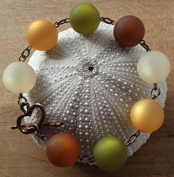 Bracelet en perles résine aspect givré : Bracelet par vel