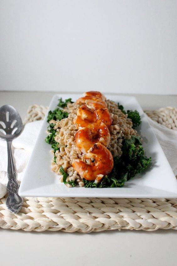 Healthy Farro with Sauteed Kale and Barbecue Shrimp | Keys to the Cucina