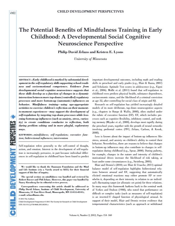 The Potential Benefits of Mindfulness Training in Early Childhood: A Developmental Social Cognitive