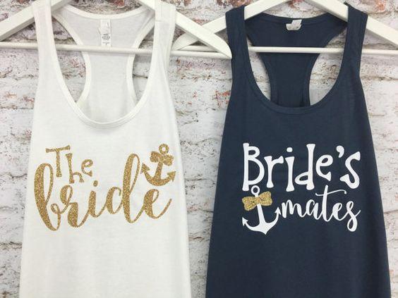 Nautical Bridal Tanks Brides Mates Brides by BridalBlissCouture