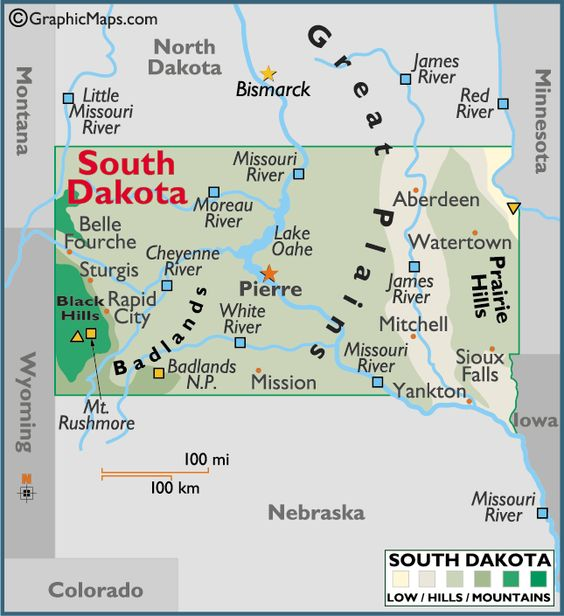 South Dakota map we will be going to Mt Rushmore and Sturgis – South Dakota Travel Information Map